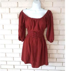 Purple Snow Lace Up Waist Boho Dress